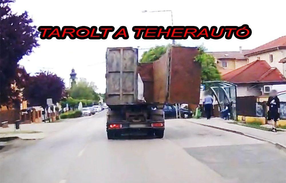 VIDEÓ: Mire észrevette, letarolta a fél maglódi fő utcát a teherautós