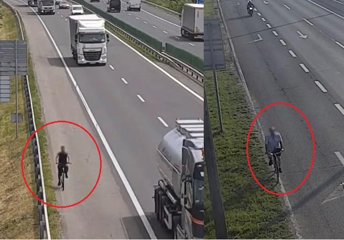 VIDEÓ: Autópályán TILOS! kerékpározni, de úgy tűnik nekik senki nem szólt erről
