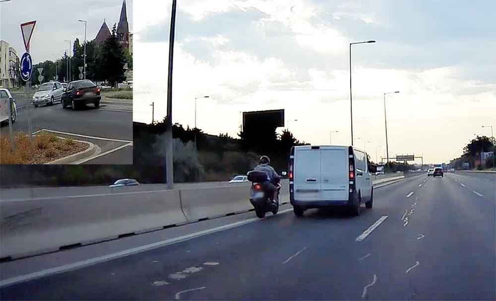VIDEÓ: Mindenáron megmutatta a motoros, hogy elmaradt a jobbra tartás | Kifogott rajta a veszprémi körforgalom
