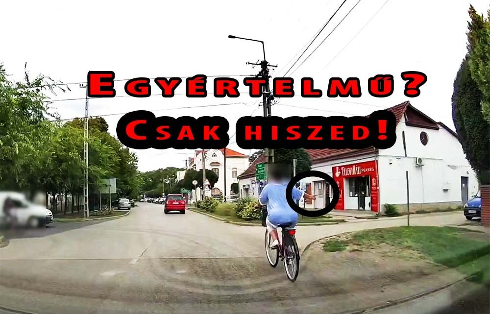 VIDEÓ: Irányt jelzett a biciklis. Szerencsére nem vette komolyan a kamerás autó sofőrje