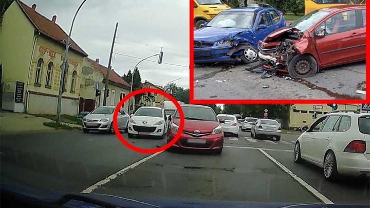 VIDEÓ: Csak(!) kapkodott. Nézd meg mit okozott emiatt a fehér Peugeot sofőrje