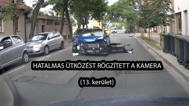 Kamera rögzítette a hatalmas ütközést. 18 másodpercig gurult az autó a becsapódás után