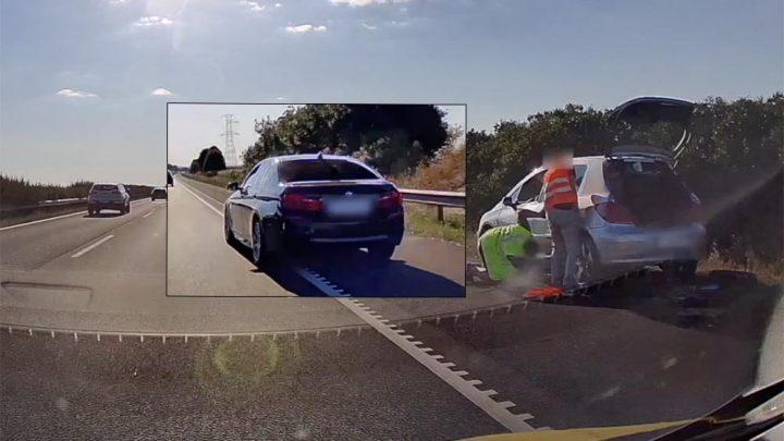 VIDEÓ: Látta mire való a műszaki sáv, mégis sorozatosan, magasról tett rá a BMW sofőrje