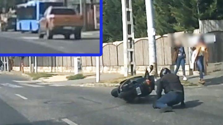 VIDEÓ: Elhajtott a pickup sofőrje, hátrahagyva a balesetet szenvedett motorost