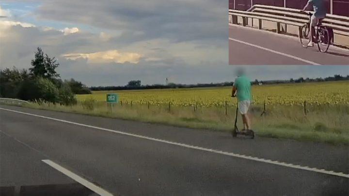 VIDEÓ: Már az elektromos roller is megjelent az autópályákon