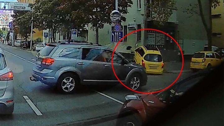 VIDEÓ: Szinte levegőbe repült taxijával a Bocskai úton ma balesetet szenvedett férfi